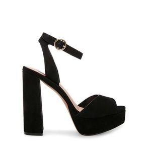 Steve Madden Madeline Black Suede Platform Sandals